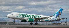 "Frontier Airbus ""Betty the Bluebird"" landing at KLAS (Alaskan Dude) Tags: travel las klas mccarren mccarreninternationalairport planespotting airplanes airliners airliner aviation planewatching"