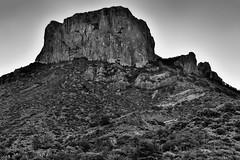 A Morning Portrait of Casa Grande Peak (Black & White, Big Bend National Park) (thor_mark ) Tags: bigbendnationalpark bigbendranges blackwhite blueskies capturenx2edited casagrande casagrandepeak chihuahuandesert chisosbasin colorefexpro day2 desert desertlandscape desertmountainlandscape desertplantlife hiketosouthrimtrail hillsideoftrees intermountainwest landscape lookingse mountains mountainsindistance mountainsoffindistance mountainside nature nikond800e outside project365 silverefexpro2 southrimloop southrimtrail southwestbasinsandranges sunny transpecostexasranges trees triptobigbendnationalpark usbiospherereserve tx unitedstates