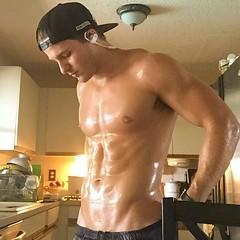 133 (Glistening Man) Tags: sweat sweaty sweating man guy shirtless shiny shining body skin wet muscle muscles