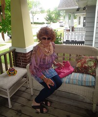 Am I Ready? (Laurette Victoria) Tags: porch milwaukee purse leggings redhead curly laurette woman