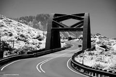 Bridge - infrared (JSB PHOTOGRAPHS) Tags: dsc609200001 bridge oregon coast infraredconvertedcamera infrared streetphotography street nikon d70 blackandwhite bw 101 hwy bigcreek