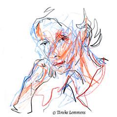Scribble-portrait 12 (Tineke Lemmens) Tags: tinekelemmens portraits colored pencils