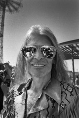 Peace and Love, Man (Brian Gilbreath) Tags: ifttt 500px mermaid parade coney island black white 35mm film photography street streets style portrait fashion aviators sun glasses reflection man peace love hippy photograph