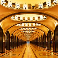 Mayakovskaya (Arni J.M.) Tags: architecture interior mayakovskaya mayakovskayametrostation metro colonnade lights artdeco futurism vanishingpoint platform moscow russia