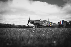 Hawker Hurricane P3717  (Explored 24.06.2018) (Steven Whitehead) Tags: raf hawker hurricane 2018 canon canon5dmk4 blackandwhite airshow aircraft airfields airoplane airfield flying ww2 shuttleworth fighter 100yearsraf merlin celebration 100 years