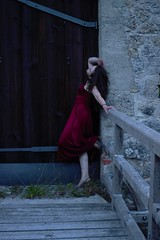 (Nathalie_Désirée) Tags: reddress castle wall brick architecture badenwuerttemberg evening door portal wood canoneos600d canon35mm f20 bridge ndm person girl summer
