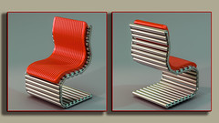 ChairD54fin (Ke7dbx) Tags: productdesign industraldesign industrialdesign furnituredesign furniture design art arts designer chair chairs red leather blue 3d cg cgi modo