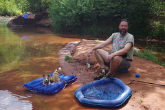 chad and dogs (EllenJo) Tags: sedonaarizona oakcreek july6 heather heathersvisit sedona summerinaz pentaxks1 crescentmoonranch redrockcrossing arizona az hazel simon chad dogs raft 2018