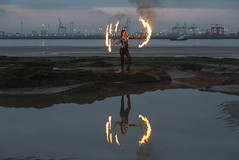 Fire Fun at New Brighton (David Chennell - DavidC.Photography) Tags: firespinning firedancer newbrighton wirral reflection merseyside