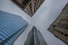 Looking up Downtown Toronto (HisPhotographs.com) Tags: toronto ontario canada buildings building cloudy lookingup downtown city glass windows architecture