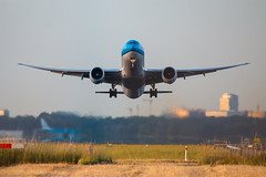 blue bird (Sacha dR) Tags: takeoff aircraft airfield aeroplane schiphol amsterdam klm boeing runway airport sundown plane