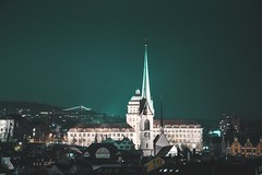 The ETH in Zurich. (philippkneller) Tags: bynight nikon photo photography lightroom color mintygreen shine light lights night sky blue green church architecture impuls stadt city town switzerland swiss zurich uni eth zh zürich
