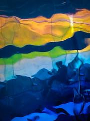 Taken through stained glass. (1 of 2) (+Pattycake+) Tags: iphone brianclarke coloursglass takenthroughglass stainedglass artist exhibitionscva ripples light blue yellow lime green distortion