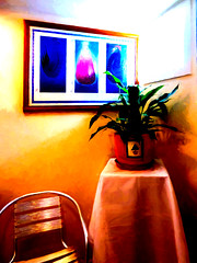 The Waiting Room (Steve Taylor (Photography)) Tags: tablecloth furniture waitingroom digitalart painting picture window table chair orange mauve blue yellow white red cloth newzealand nz southisland canterbury christchurch plant glow glare texture