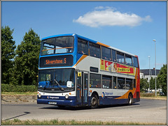 18423, Upton Way (Jason 87030) Tags: 18423 stagecoacheast onhire alx400 dennis trident doubledecker red white blue orange sunny weather cloud grandprix f1 formulaone silversont bus ae06gzv transport northampton uptonway northants northamptonshire photo photos pic pics socialenvy pleaseforgiveme picture pictures snapshot art beautiful picoftheday photooftheday color allshots exposure composition focus capture moment