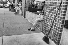 Sweep (mfhiatt) Tags: dscf15440618djpg broom sidewalk desmoines iowa streetphotography street urban fujix100f farmersmarket downtownfarmersmarket courtavenue