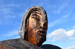 Wood carving. (Thor Hilmarsson) Tags: viking warrior carving wood woodcarving timber tree maori newzealand aotearoa iceland face helmet head