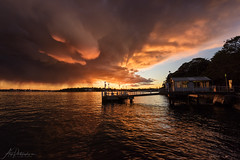 Winter Storm III (AegirPhotography) Tags: sunset dusk landscape seascape ocean sea water ferry wharf jetty storm cloud greenwich sydney australia