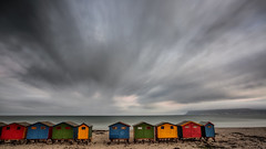 Muizenberg beach (AndreDiener (ALDPhoto)) Tags: beach beachhuts huts clouds colours red yellow green blue longexposure