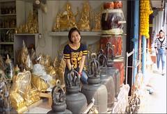 Bangkok Bamrung Muang Statues 20180208_122756 DSCN2945 (CanadaGood) Tags: asia seasia asean thailand thai ราชอาณาจักรไทย bangkok krungthep shopping statue metal bell hindu buddhist people person canadagood 2018 thisdecade color colour