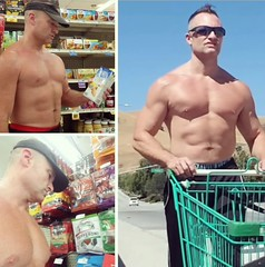 shirtless shopping sunday (ddman_70) Tags: shirtless pecs abs muscle shopping sweatpants