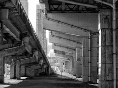 Gardiner Expressway, Toronto, Ontario (duaneschermerhorn) Tags: black white blackandwhite blackwhite bw noire noir blanc blanco schwartz weiss expressway highway elevated concrete pillars ramp ramps