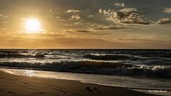 Golden coast of the Baltic Sea (Magda Banach) Tags: balticsea canon canoneos5dmarkiv chmury clouds colors outdoor outside poland reflection sand sea sky summer sun sunset yellow zachódsłońca