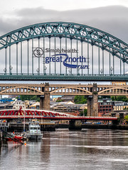 Down by the Tyne. (CWhatPhotos) Tags: cwhatphotos tyne bridge swing tyneridge gateshead olympus penf pen f micro four thirds camera photographs photograph pics pictures pic picture image images foto fotos photography artistic that have which contain newcastle upon river bythe north east england uk span crossing blue water host city day skies buildings clouds reflection reflections