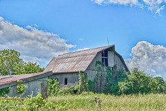 Barn with Clouds (gabi-h) Tags: barn rural rustic farm sky clouds blue princeedwardcounty bigisland gabih grass green rustyroof summer peaceful serene architecture