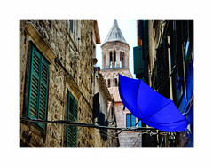 Brolly so Blue ! (Explored) (CJS*64) Tags: split croatia blue brolly bluebrolly sidestreet cjs64 craigsunter cjs colour wall walls street walkabouts windows shutters church tower