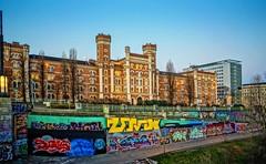 in the morning (try...error) Tags: vienne vienna wien red yellow urban blue sky art urbanarte graffiti available light travel barracks army bricks building austria