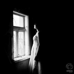 Paulina. I Disappear, outtake no. 1 (mkarwowski) Tags: bride monochrome girl portrait people blackandwhite woman whitedress canon eos 80d canoneos80d eos80d canonefs24mmf28stm efs24mmf28stm squareformat lowkey weddingdress