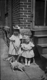 Sisters and Pet 1938 - Vintage Negative