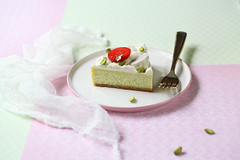 Pistachio Cheesecake (Мiuda) Tags: cheesecake pistachio cake cheese cream creamcheese pastry strawberry vanilla patisserie pastries mousseline diplomate pastelcolors colours food sweet dessert delicious sweetbakery bake baked baking sweetbaking homemade foodphotography foodphoto foodblog foodblogger sugar whipped whipping whippedcream sweetfood canon