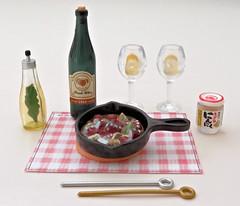 Momoya's Stylish Recipe # 2 (MurderWithMirrors) Tags: rement miniature food meal momoya spice seasoning mwm aijllo wine winebottle wineglass whitewine skewer oliveoil pan trivet