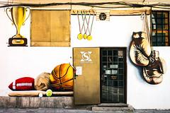 No skiving! (TablinumCarlson) Tags: sofia bulgarien bulgaria durchgang eingang entry gate door leica summicron m240 m vitosha mountain 50mm fassade facade boxen boxstudio sport ball boxing sandex sandexsport sportstudio studio club sportclub sportsclub mural