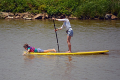 Speeding up the ride (radargeek) Tags: july 2018 lakeoverholser sup paddleboard oklahoma outside outdoors mother daughter family kid child splash water