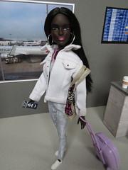 Catching her flight (Foxy Belle) Tags: barbie airport doll diorama make ooak froggy stuff printable paper foam board gray 16 scale dollhouse miniature aa african american black long straight hair hoop earrings silver