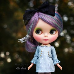 Late (pure_embers) Tags: pure embers blythe doll dolls custom angellily pureembersbluebell bluebell neo uk girl pretty pureembers photography kenner purple lilac hair simon yuen dress vintage baby blue bokeh