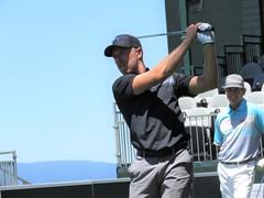 Joe Pavelski teeing off on the 17th hole (vpking) Tags: celebritygolf americancentury edgewoodgolfcourse tahoesouth nevada southlaketahoe sanjosesharks