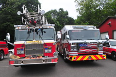 Hopewell Fire Department Quint 52 · Rescue 52 (Triborough) Tags: nj newjersey hunterdoncounty eastamwelltownship eastamwell ringoes hfd hopewellfiredepartment firetruck fireengine ladder ladder52 quint quint52 engine rescue rescue52 rosenbauer commander