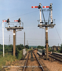 LNER / GCR Clipstone South Junction SemaphoreSignals - View North - 29th June 1986 (robinstewart.smith) Tags: lner gcr clipstone south junction 1986