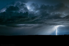 Cloud to Ground Lightning from a High Based Storm (mesocyclone70) Tags: lightning storm thunderstorm stormchase nightphotography electricity greatplains usa