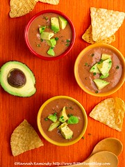 Instant Fiesta Soup (Bitter-Sweet-) Tags: vegan recipe food savory healthy fast easy cheap soup stew blended hot comforting comfortfood instant homemade beans mexican salsa spicy avocado dinner meal onepot highfiber highprotein creamy meatless