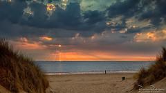 Dunes Beach Sea Clouds and Sunset (BraCom (Bram)) Tags: 169 bracom bramvanbroekhoven hellevoetsluis holland nederland netherlands noordzee northsea rockanje southholland voorneputten zuidholland avond beach cloud duinen dunes evening palen poles sand sea sky strand sunrays sunset widescreen wolk zand zee zonnestralen zonsondergang nl summer zomer sommer estate verano été