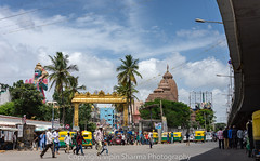 A busy street on a festival. (vipinsharmagju) Tags: temple streets streetphotography nikon daytime festival road flyover india bangalore kitlens