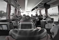 There are less comfortable coach journeys (roomman) Tags: 2018 turkey cankiri çankırı region province countryside bw black white blackandwhite bandw conbtrast monochrome guven cankiriguven bus coach transport travel transportation inside cabin long distance screen screens internet food drinks service tv