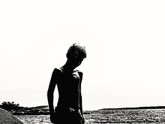 Boy in sunshine V 2/ Gutt i sollys V2 (Bjorn-Erik Skjoren) Tags: boy youngboy sunshine summer norway blackandwhite bw rough