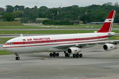 3B-NBE, Singapore, November 27th 2003 (Southsea_Matt) Tags: 3bnbe airmauritius airbus a340313 wsss sin singapore changi november 2003 autumn canon 10d aircraft aviation plane transport