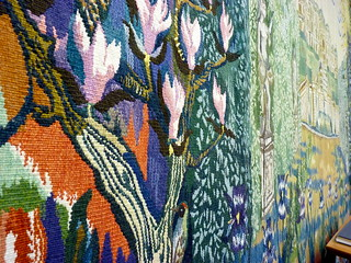 Close up view of large tapestry